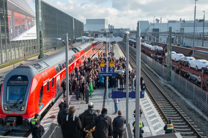 Audi Ingolstadt lures employees onto train with own station