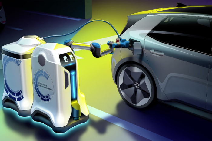 VW shows prototype of its mobile charging robot