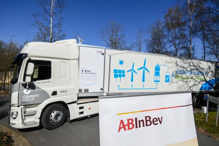 AB InBev beer delivered by fuel cell truck to Colruyt