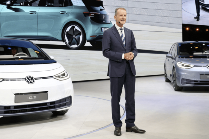 VW, fairing well financially, extends contract of CEO Diess